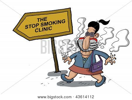 A woman goes to a smoking clinic