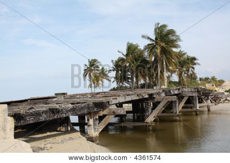 Old Wooden And Broken Bridge