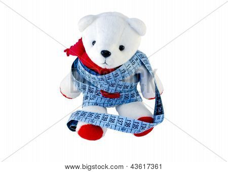 Small Teddy With Red Feet Wrapped Blue Centimeter