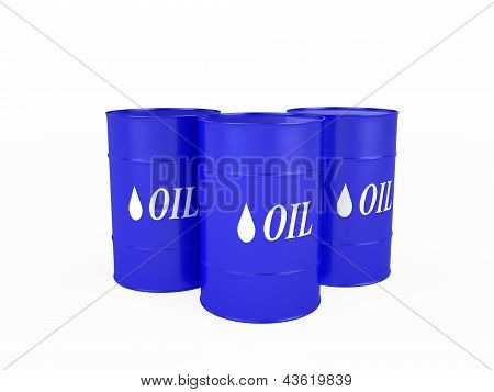 Three Blue Barrels With The Oil