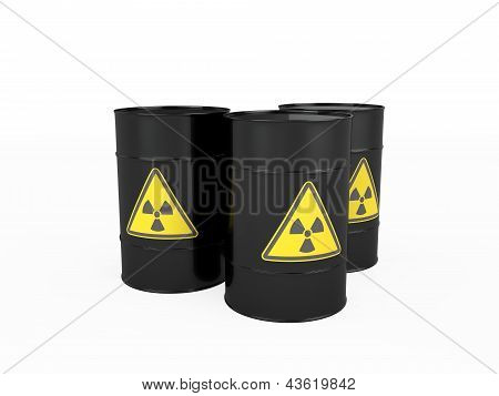 Three Black Barrels With Radioactive Symbol