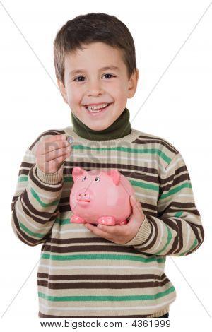 Adorable Child With Moneybox Savings