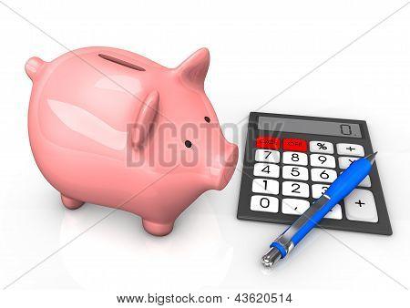 Piggy Bank Calculator Ballpen