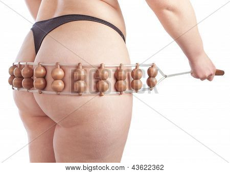 Thick Woman Does Massage On The Buttocks Of Cellulite. Isolated On White.
