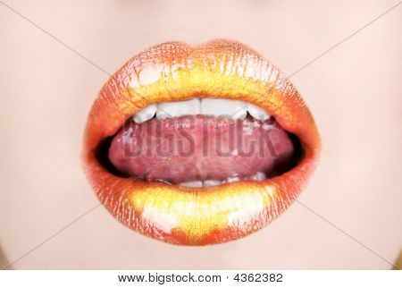 Orange Gold Lips