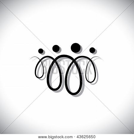 Family Of Four People Abstract Symbols(icons) Using Line Loops