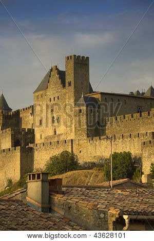 Golden evening at Carcassonne, France
