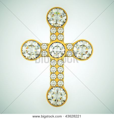 Religion And Fashion: Golden Cross With Diamonds