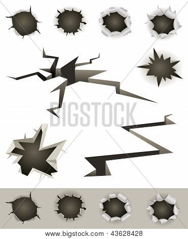 Bullet Holes, Cracks And Slashes Set