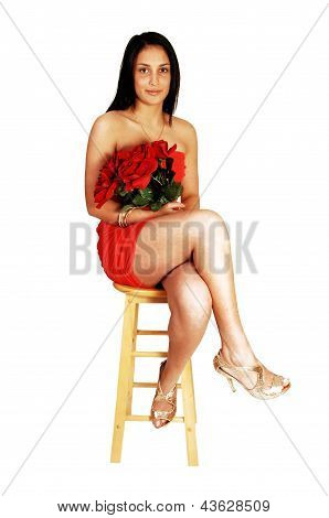 Teen Girl With Rose.