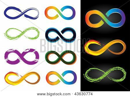 Eight Different Infinity Symbols - Vector Illustrations