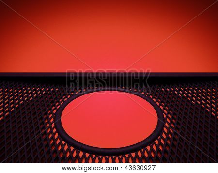 Meshy Pattern And Circle Over Red Leather Background