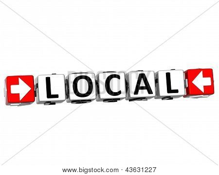 3D Local Button Click Here Block Text