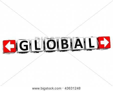 3D Global Button Click Here Block Text