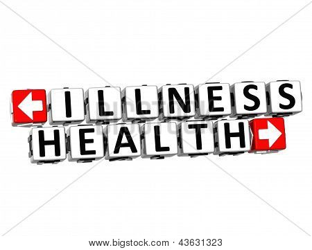 3D Illness Health Button Click Here Block Text