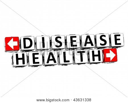 3D Disease Health Button Click Here Block Text