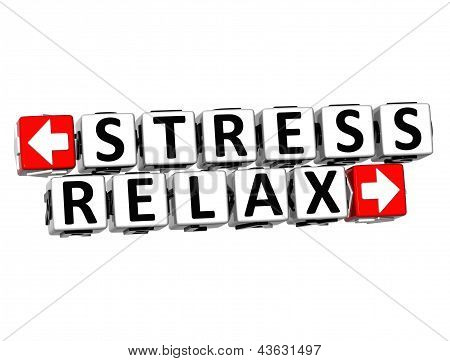 3D Stress Relax Button Click Here Block Text