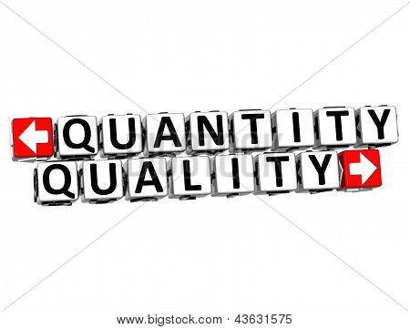 3D Quantity Quality Button Click Here Block Text