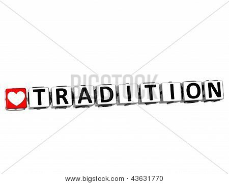 3D Love Tradition Button Click Here Block Text