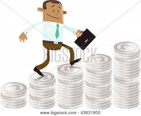 Compañero de negocios sube por la colina de dinero
