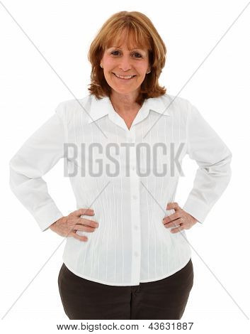 Attractive Older Female With Hands On Hips