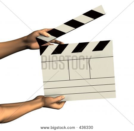 Hands Holding A Clapboard