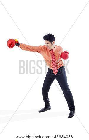 Businessman Boxing On White