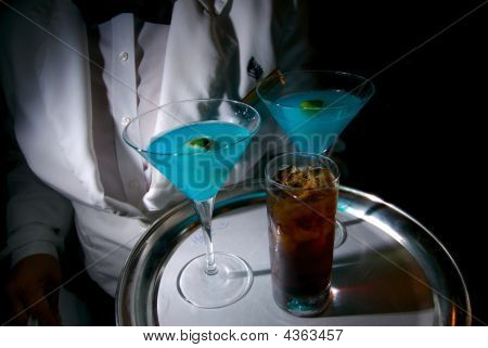 Server's Tray Full Of Cocktails