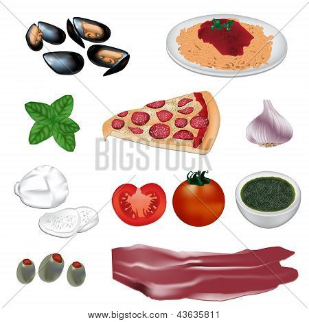 Italian food vector illustrations