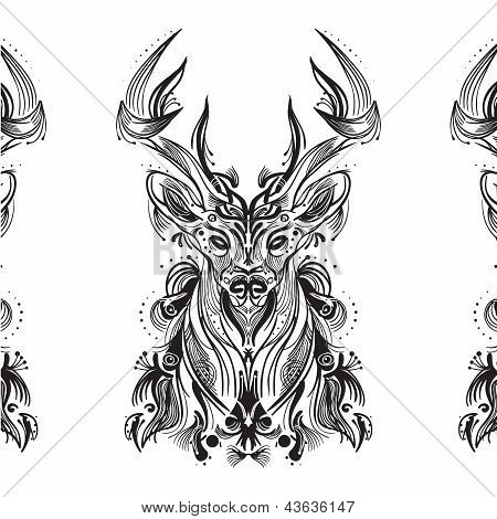 Black And White Card With Stylized Deer