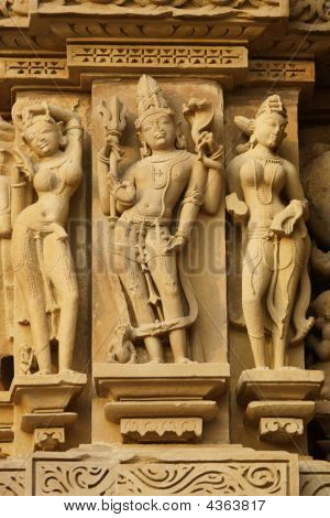 Statues On A Hindu Temple At Khajuraho