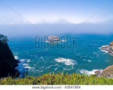 Rugged Rocky Coastline On The Oregon Coast Overlook From Cape Meares Lighthouse