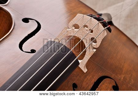 Fragment of a cello isolated on beige background