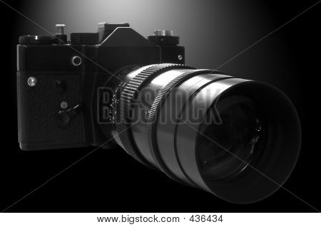 Retro Slr Camera In B&w