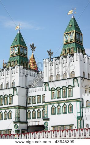 Towers of Izmaylovskiy Kremlin in Moscow, Russia