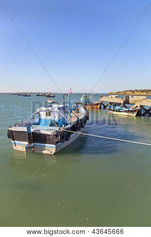 Boats At Dusk In Dwarka Harbor