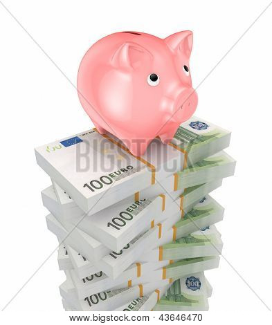 Pink piggy bank and stacks of euro.
