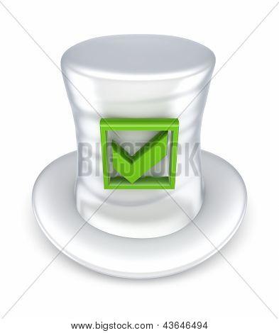 Green tick mark on white hat.