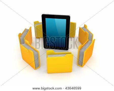 Yellow folders around tablet PC.