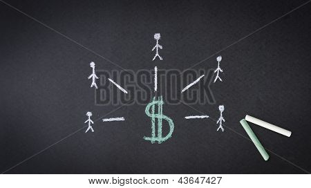 Dollar Sign Chalk Illustration