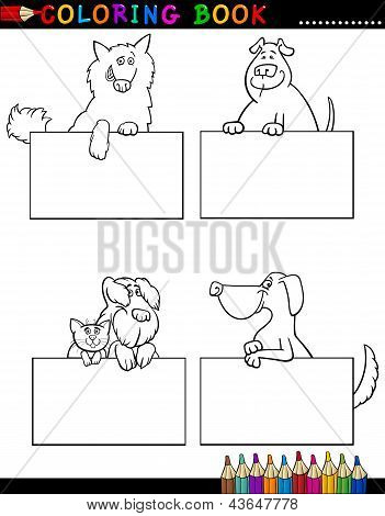 Cartoon Dogs With Cards Coloring Page