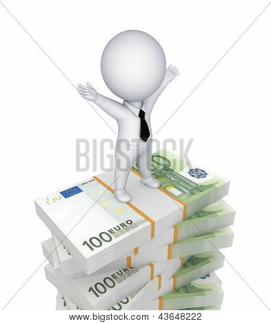 3d small person standing on a stack of euro.