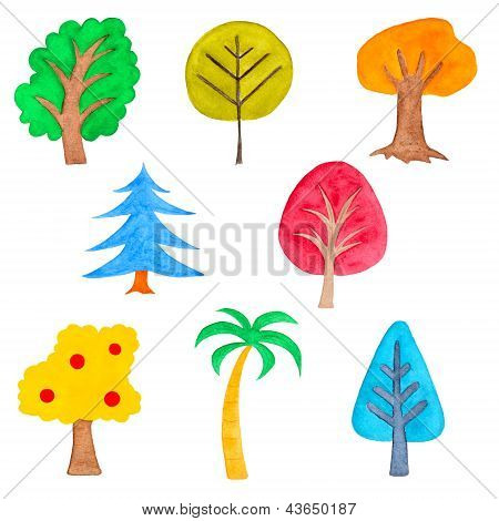 Set Of Colorful Simple Trees, Watercolor Hand Painted, Isolated