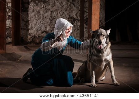 Nun Talking To Dog