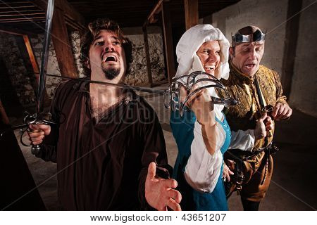 Laughing Lady With Sword On Man
