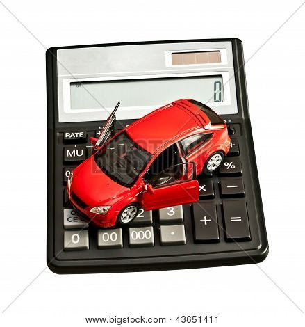 Toy Car And Calculator Over White. Rent, Buy, Repair Or Insurance Car Concept