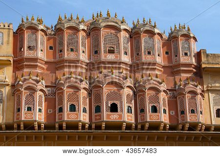 Travel India: Facadel Of Hawa Mahal - Wind Palace In Jaipur, Rajasthan