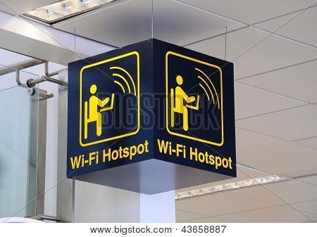 Airport wi-fi hotspot sign.
