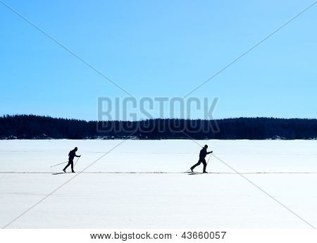 Nordic Skiing On Frozen Lake