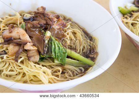 Penang Wanton Mee Noodle Closeup